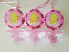 12 Duck Diamond cut Pacifier Necklaces Baby Shower Pink Favors Girl Games Decor