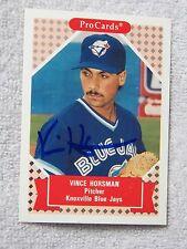 Oakland A's Vince Horsman Signed 1991 ProCards Card Toronto Blue Jays