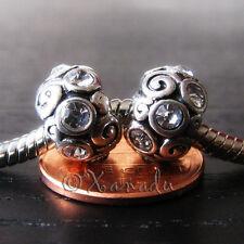 2PCs Clear Crystal Charm Beads For European Charm Bracelets - April Birthstone