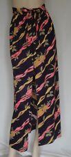 Vintage Black Long Soft Skirt Ribbons & Roses Design Loop Buttons W24 Size 9