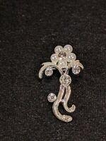 Vintage Silver Tone Faux Pearl Flower Rhinestone Pin Brooch 11494