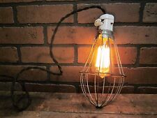 "Vintage Industrial Porcelain Lamp Light Socket with Large Trouble Cage 10"" Long"