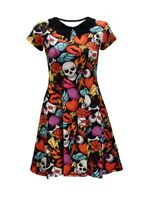 Skull Bones Heart Rose Cross Lips Doodles Collar Dress Alternative Fashion Goth