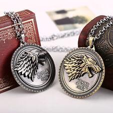 Mode Spiel der Throne Stark Direwolf Vintage Silber Anhänger Halskette Antik