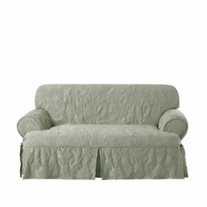 NEW Sure Fit Matelasse Damask T Cushion Loveseat Cover sage green washable 1pc
