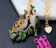 parrot Pendant Necklace Chain Brooch Betsey Johnson Alloy Rhinestone Crystal