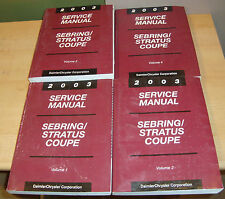 2003 Chrysler Sebring Dodge Stratus Coupe Shop Service Manual Vol 1 2 3 4 Set 03