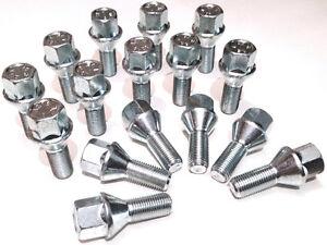 alloy wheel bolts nuts lugs M12 x 1.5, 17mm Hex, taper seat - Vauxhall x 16