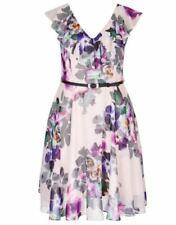 City Chic Ladies Romance Ruffle Fit & Flare Dress size 14 XS Colour Pink Floral