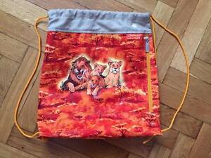 Lion Safari Orange textile canvas grocery backpack casual colored