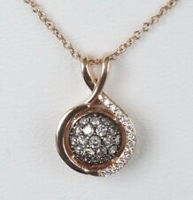 "NEW 14K Rose Gold LeVian Chocolate Diamond Small Custer 18"" Necklace"