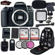Canon EOS 77D DSLR Camera (Body Only) + LED Light + Microphone + Video Bundle