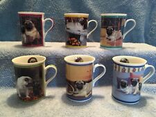 Purely Pugs Porcelain Collector Mugs Danbury Mint Pug Dog Mugs Figurine Excellen