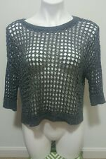 Express Gray Acrylic Boat Neck 3/4 Sleeve Net Loosely Knit Sweater Size S