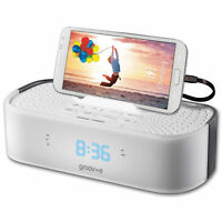 Groov-e Time Curve Alarm Clock Radio with USB Charging Station - White