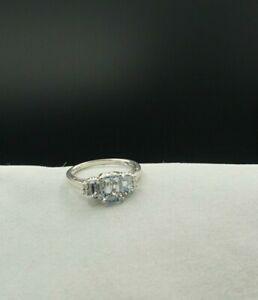 14K White Gold Ring W 3 Emerald Cut Aquamarine Stones & Diamonds Size 6.5