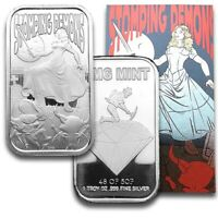 Stomping Demons Proof Like 1 oz .999 Fine Silver Art Bar W/COA Only 50 Minted
