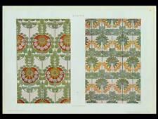 TISSUS ART NOUVEAU -1910- PHOTOLITHOGRAPHIE, GIULIO CASANOVA, FLEURS