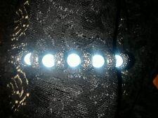 "Liquid Blue Beaded Bracelet Glass Beads Hematite Shamballa Style 7"" Adjustable"