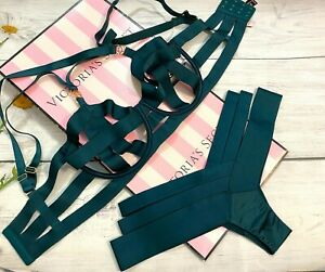 Victoria's Secret Luxe Lingerie Banded Strappy Demi Bra 2Pc Set Green Ivy