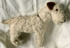 Antique MOHAIR TERRIER Airedale DOG Swivel Turn Head Glass Eyes