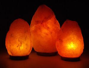 2 x Natural Himalayan Rock Salt Lamp 3-5kg On Wooden Base Plug & Bulb Included