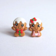 Gingerbread Man Cookie Miniature Food Christmas Gifts For Kids Earrings Jewelry