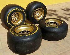 4 x FORMULA 1 PIRELLI ORIGINAL GENUINE TYRES BBS WHEEL RIMS P ZERO F1 FIA TAG