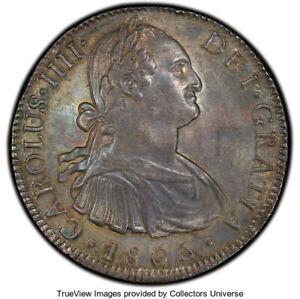 Mexico: Charles IV 8 Reales 1805 Mo-TH AU58 PCGS, Deep Gunmetal Blue Toning