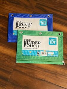 **2pk** Blue/Green Pencil Binder  Pouch 3 Ring Binder Bag Pen + Gear Storage