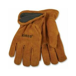 Kinco International Full-Suede Cowhide Leather Gloves, Lined, XL