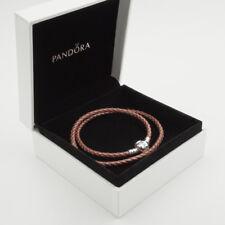 Rose Genuine Pandora Double Woven Leather Bracelet (S925 ALE) 38cm(D2)