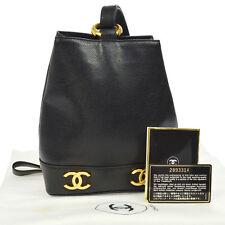 Auth CHANEL CC Logos One Shoulder Bag Black Caviar Leather Vintage GHW NR09216