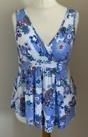 Moda Mothercare Size 12 Ladies White Top With Blue, Red & Green Floral Print