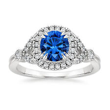 14K White Gold Real 1.30Ct Diamond Natural Certified Blue Sapphire Ring All Size