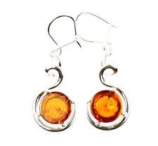SilverAmber Jewellery Earings M622 925 Sterling Silver Cognac Amber Stones