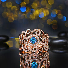 18ct Rose Gold Stunning Natural Diamonds & London Blue topaz Cocktail Ring VS