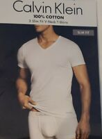 Calvin Klein Undershirt Men's Short Sleeve Cotton Classic Slim Fit V-Neck 3Pack