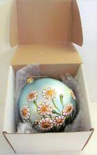 "Vtg Slavic Treasures Christmas Ornament Glass Ball Full Bloom Daisies Poland 4"""
