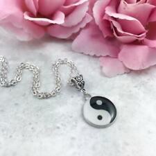 Silver Yin Yang Necklace, Black and White Ying Yang Pendant, Spiritual Jewellery