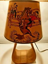 New ListingVintage 50's Cowboy Western Stirrup Lamp and Lampshade - Bucking Bronco #2