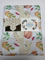 """Harvest Fabric Tablecloth 70"""" Round Adeline Autumn Leaf Fall Thanksgiving"""