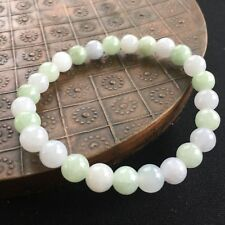 Natural A Grade Green and White Jadeite Jade 8.0mm Beads with Stretchy Bracelet