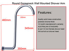 Gooseneck Round Brass Wall Mount Shower Arm