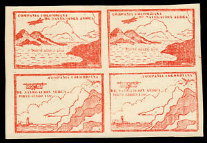 Colombia Air Post C11C-C11D 10c Red Brown Block of 4 VF MLH. PF Certificate. 4