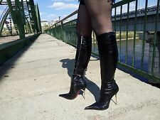 LES BAISERS DES ETOILES Size 39 (8,5) Extreme Pointed Toe High Heels Knee Boots