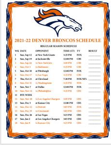 Denver Broncos Football - 2021/2022 Large METAL Magnet Schedule