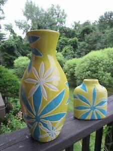 Vase Pier 1 imports Floral  Modern Retro Turquoise Lime Green Ceramic 2 Pc Set