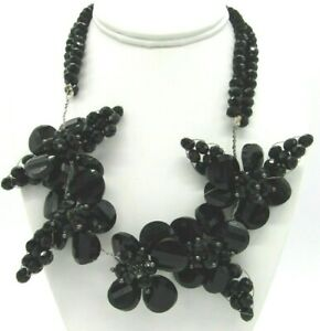 """Stunning Wired Formed Flower Clusters Black Faceted Glass Beads Necklace 18"""""""