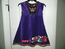 Girl's Oilily Purple Dress w/Embroidered Flowers Size 128 (8)